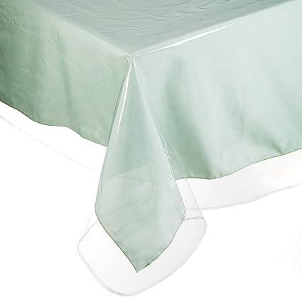 YOURTABLECLOTH Clear Vinyl Tablecloth Heavy Duty 6 Mil Table Cloth (54u201d X  54u201d