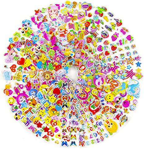 MCY - Pegatinas acolchadas para niños y niñas, ideales para bolsas ...