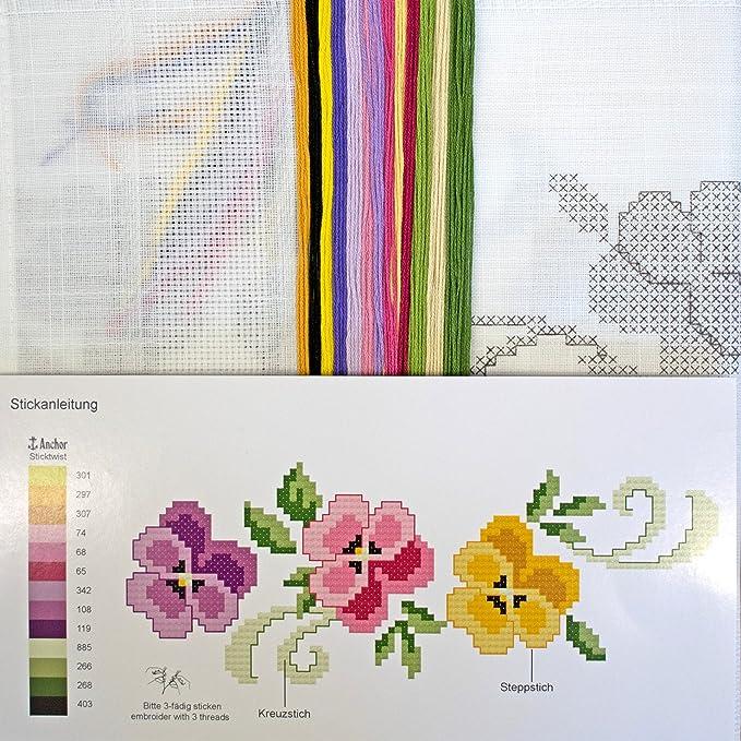 Stickpackung STIEFMÜTTERCHEN / Blumen Stickset mit Stickvorlage für ...