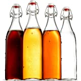 Swing Top Clear Glass SQUARE Bottle With Airtight Stopper - 33.75 oz (4 Pack) Fliptop Grolsch Bottles Great for Oil and Vinegar, Beverages, Kombucha, Homemade Juices, Smoothies, Homebrewing, Beer ETC.