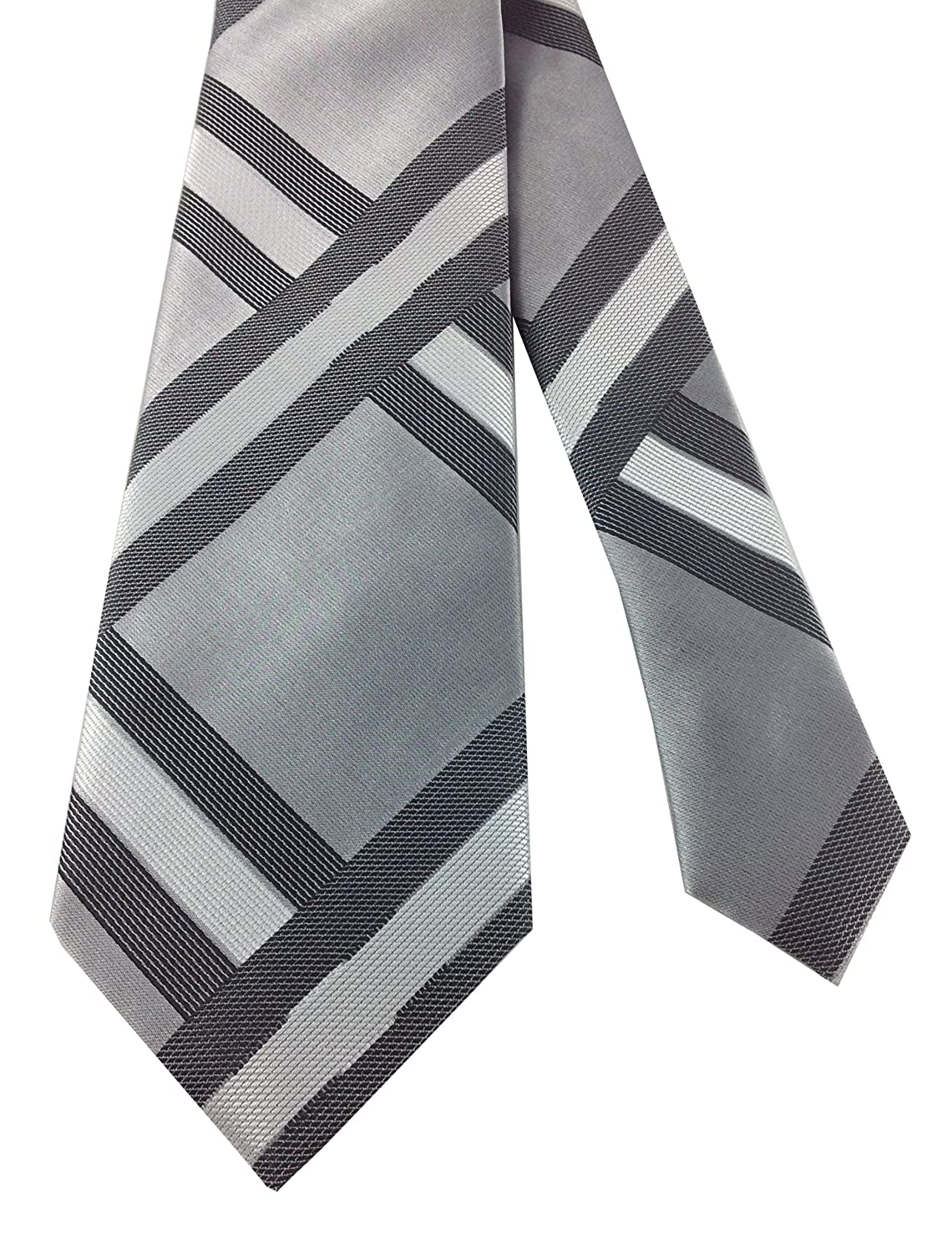 New 1920s Mens Ties & Bow Ties  Grey Vintage Geometric Pattern Tie $19.99 AT vintagedancer.com