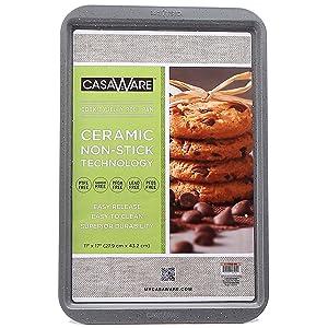 "CasaWare Ceramic Coated NonStick Cookie/Jelly Roll Pan 11""x17"" (Silver Granite)"