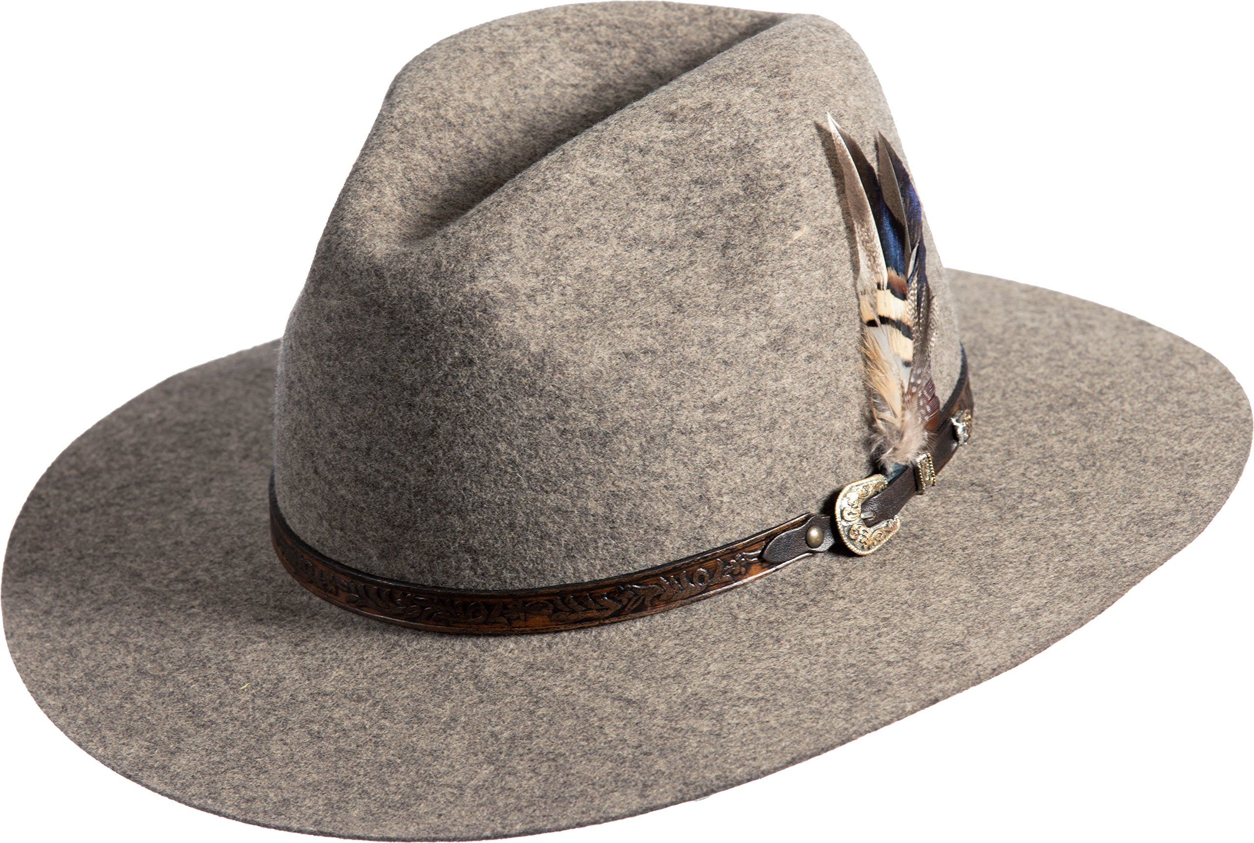 Overland Sheepskin Co. Messenger Bolivian Wool Felt Outback Hat, Brindle MIX, Size 7 3/8 by Overland Sheepskin Co (Image #1)