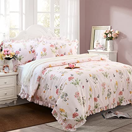 Amazon fadfay butterfly duvet covers pink floral bedding fadfay butterfly duvet covers pink floral bedding hypoallergenic cotton designer bedding set 3 pieces with ruffle mightylinksfo