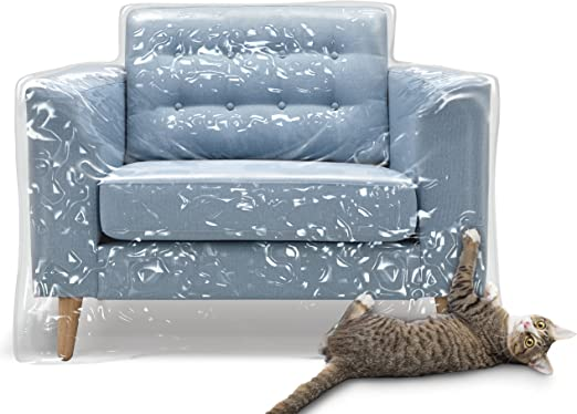 Plastic Recliner Armchair Cover For Pets Cat Scratching Protector Clawing Deterrent Heavy Duty Thick Clear Vinyl Chair Slipcover Waterproof