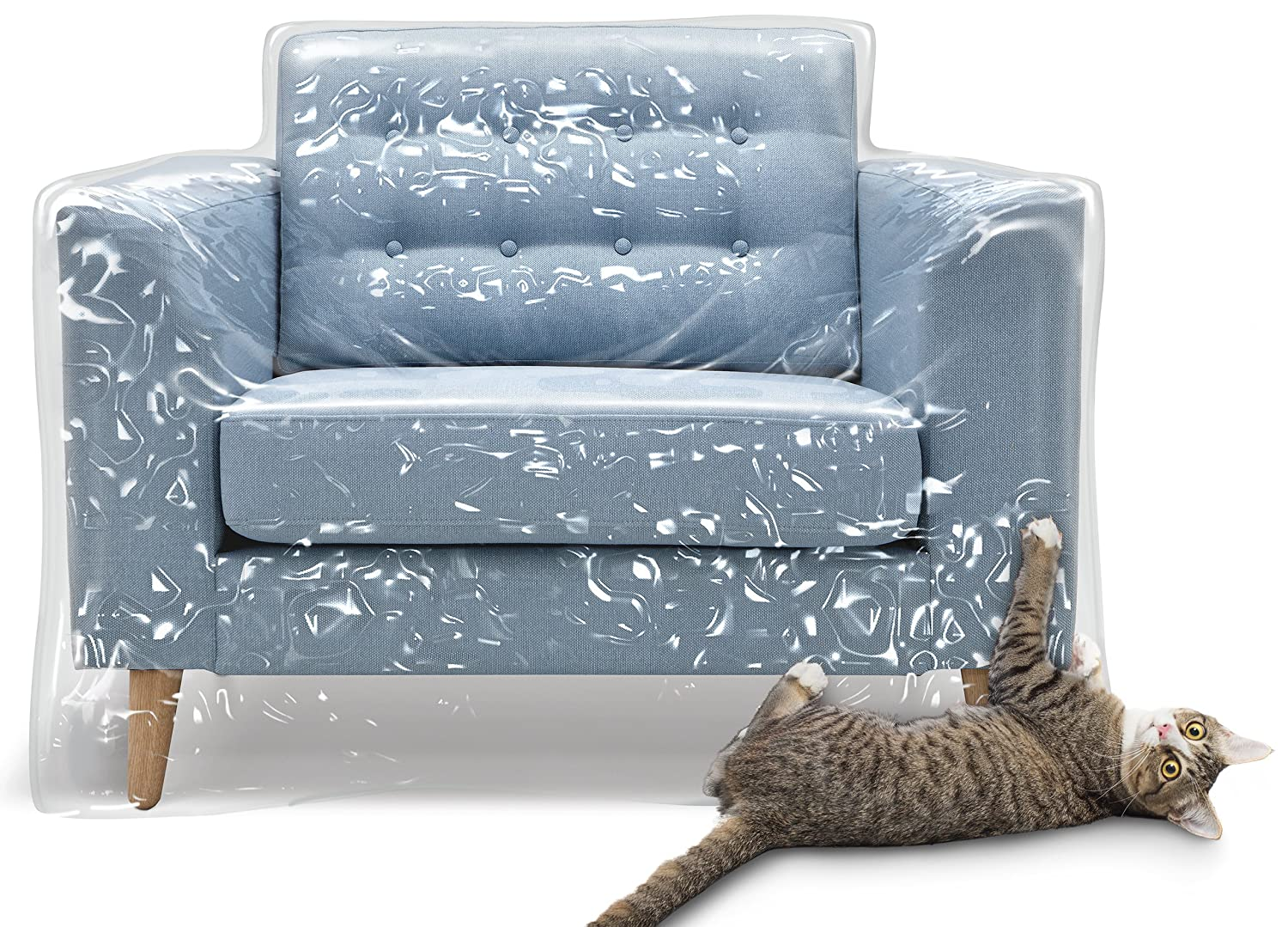 Kitty Cat Protector Plastic Recliner Armchair Cover For Pets | Cat Scratching Protector Clawing Deterrent | Heavy Duty Thick Clear Vinyl Chair Slipcover | Waterproof Plastic Furniture Covers For Storage And Moving