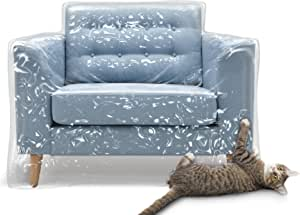 Plastic Recliner Armchair Cover for Pets Cat Scratching Protector Clawing Deterrent Heavy Duty Thick Clear Vinyl Chair Slipcover Waterproof Plastic Furniture Covers for Storage and Moving