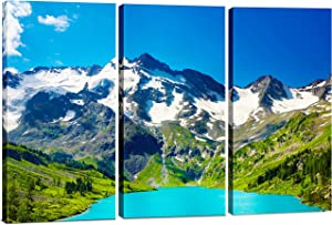 Canvas Wall Art Decor - 12x24 3 Piece Set (Total 24x36 inch) Mountain Lake Nature - Decorative & Modern Multi Panel Split Canvas Prints for Dining & Living Room, Kitchen, Bathroom, Bedroom & Office