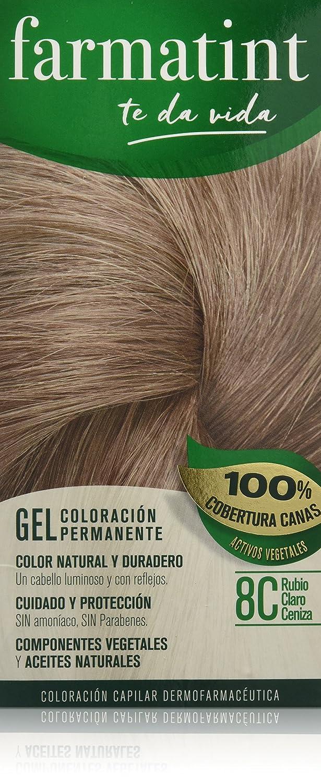Farmatint Gel 8C Rubio Claro Ceniza. Tinte permanente. Cabello natural y color duradero. Sin amoníaco ni parabenes ni parafinas ni siliconas.