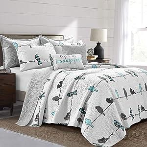 Lush Decor Rowley Birds 7 Piece Quilt Set, Blue & Gray, Full Queen
