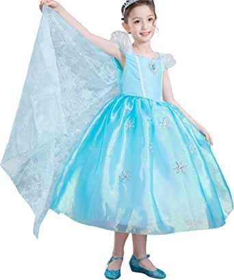Dressy Daisy Girls Princess Elsa Costumes Frozen Dress with Train Halloween Party Costume