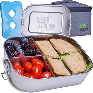 Clean Lunch'N Large Metal Bento Box Combo - Leak-Proof Lid & Dishwasher Safe Three (3) Section Stainless Steel Lunch Box, Insulated Lunch Bag & Ice Pack Included, BPA Free Food Storage