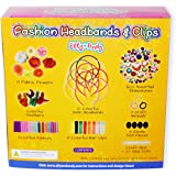 Elly & Andy Fashion Headbands & Clips Hair Accessories Kit - Best Gift For Girls With 10 Headbands, 8 Clips, 8 Flowers, Feathers, 70+ Rhinestones & Ribbons - Best Creative Craft Set For Play Dates