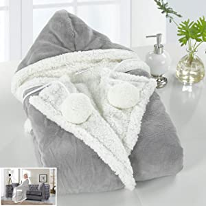 """Chic Home Hazel Snuggle Hoodie Animal Print Robe Cozy Super Soft Ultra Plush Micromink Sherpa Lined Wearable Blanket with 2 Pockets Hood Button Closure, 51"""" x 71"""" Grey"""