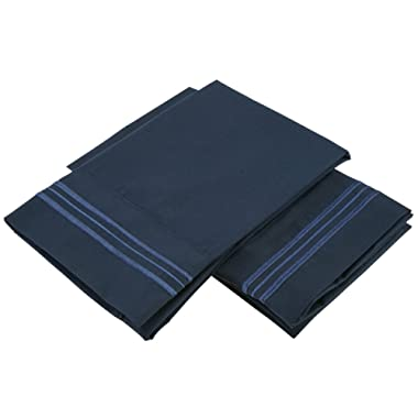 Clara Clark Modern Bedding Collection, Standard Navy Blue Pillowcases.
