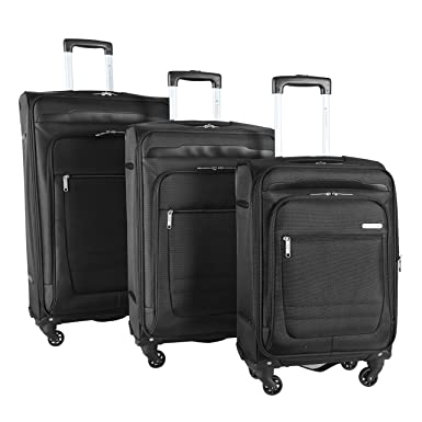 dfee48b4f Travelers Club Luggage 3 Piece Top Durable Expandable Spinner Luggage Set,  Black