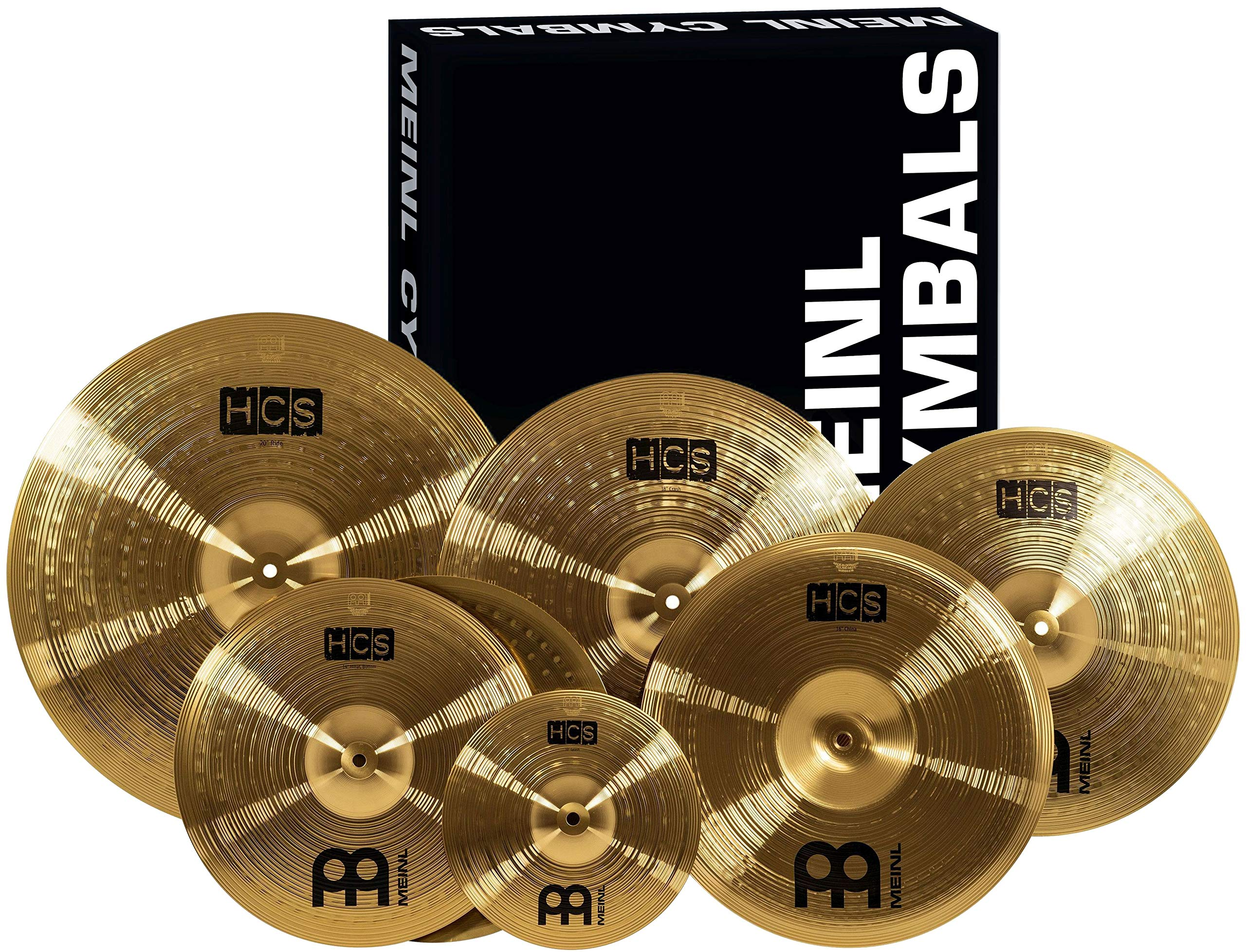 Meinl Cymbals Super Set Box Pack with 14'' Hihats, 20'' Ride, 16'' Crash, 18'' Crash, 16'' China, and a 10'' Splash - HCS Traditional Finish Brass - Made In Germany, 2-YEAR WARRANTY (HCS-SCS) by Meinl Cymbals