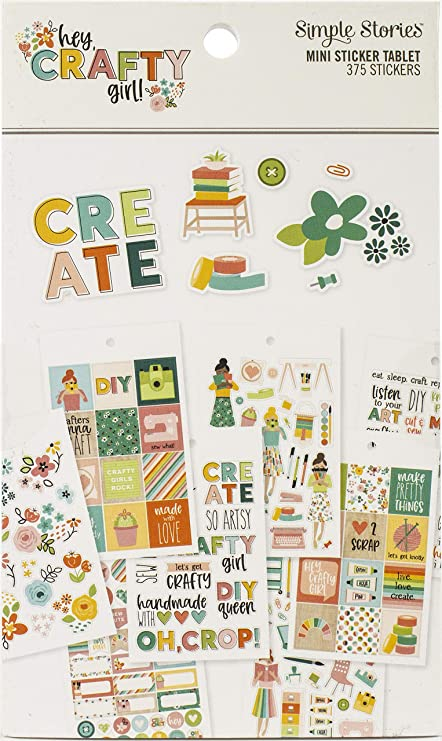 SIMPLE Stories Hey Crafty GL STCKRS 12 Sheets