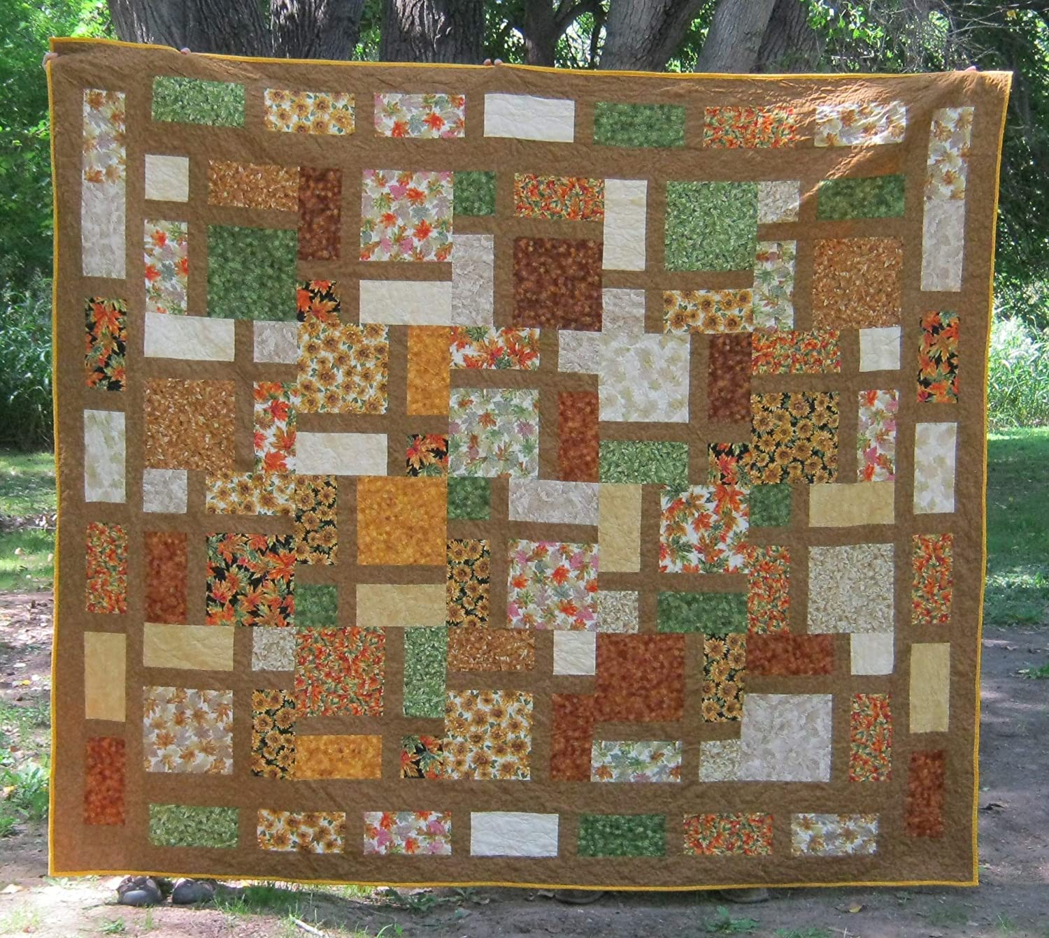 Image of Handmade Autumn Quilt Double/Queen, Extra Large Lap Quilt, Mosaic Fiber Art, Quilted Bed Blanket, Fall Harvest Home and Kitchen