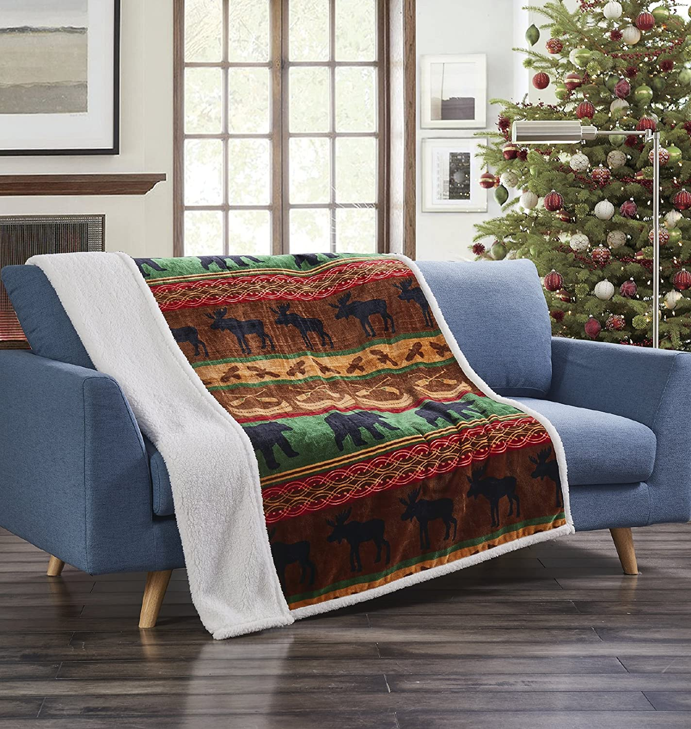 "Virah Bella Lodge Preserve Rustic Flannel Throw Blanket with Sherpa Backing 50"" x 60"""