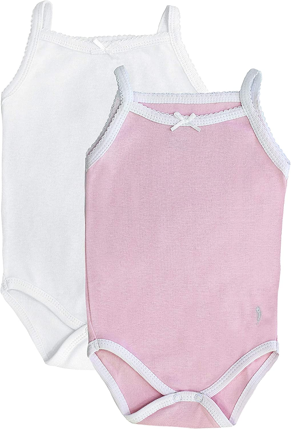 Feathers Baby Girls 100/% Cotton Super Soft Camisole Onesies 2-Pack