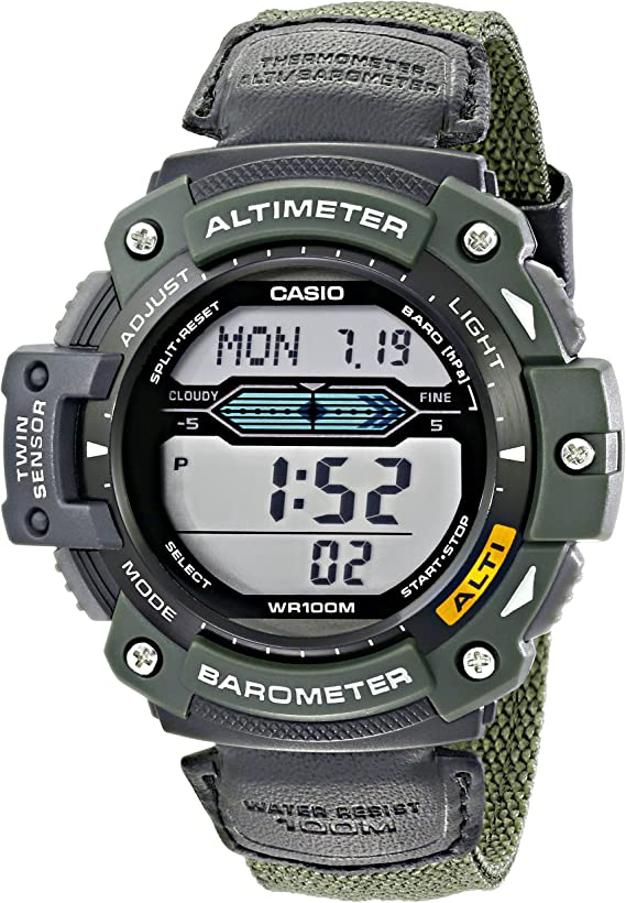 Casio Men's SGW300HB-3AVCF Multi-Function Sport Watch with Green Nylon Band