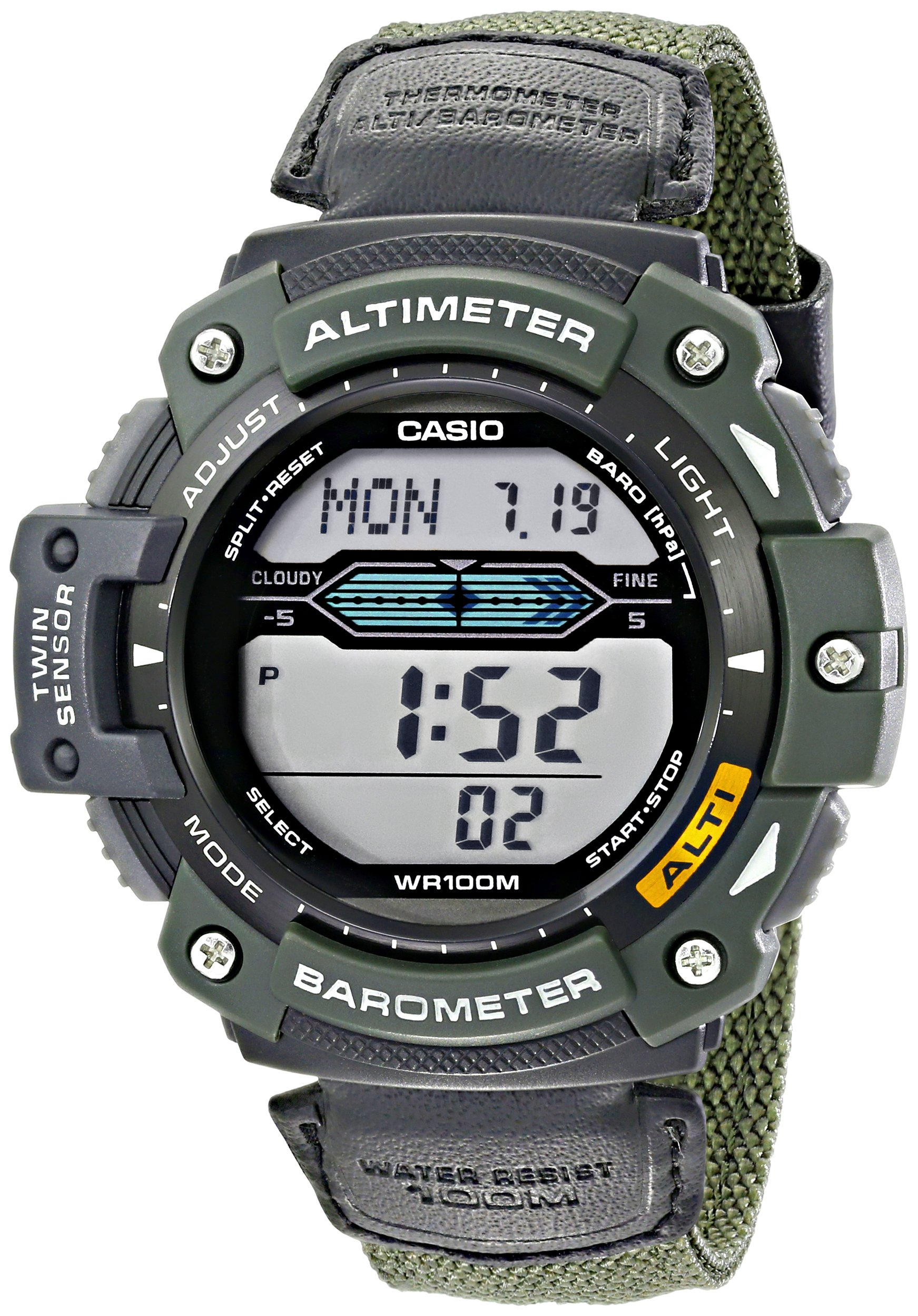 Casio Men's SGW300HB-3AVCF Multi-Function Sport Watch with Green Nylon Band by Casio
