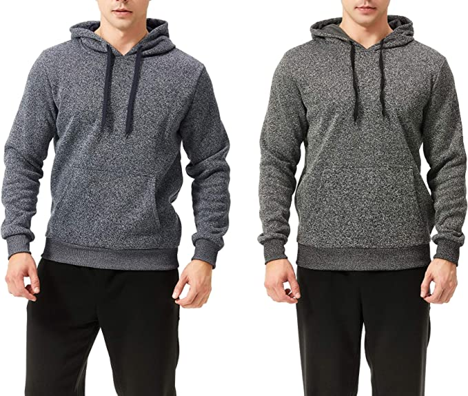 TEXFIT 2-Pack Men's Fleece Hoodies, Pullover Sweatshirt Hoodie with Front Kangaroo Pockets (Dark Grey/Blue Melange, Large)