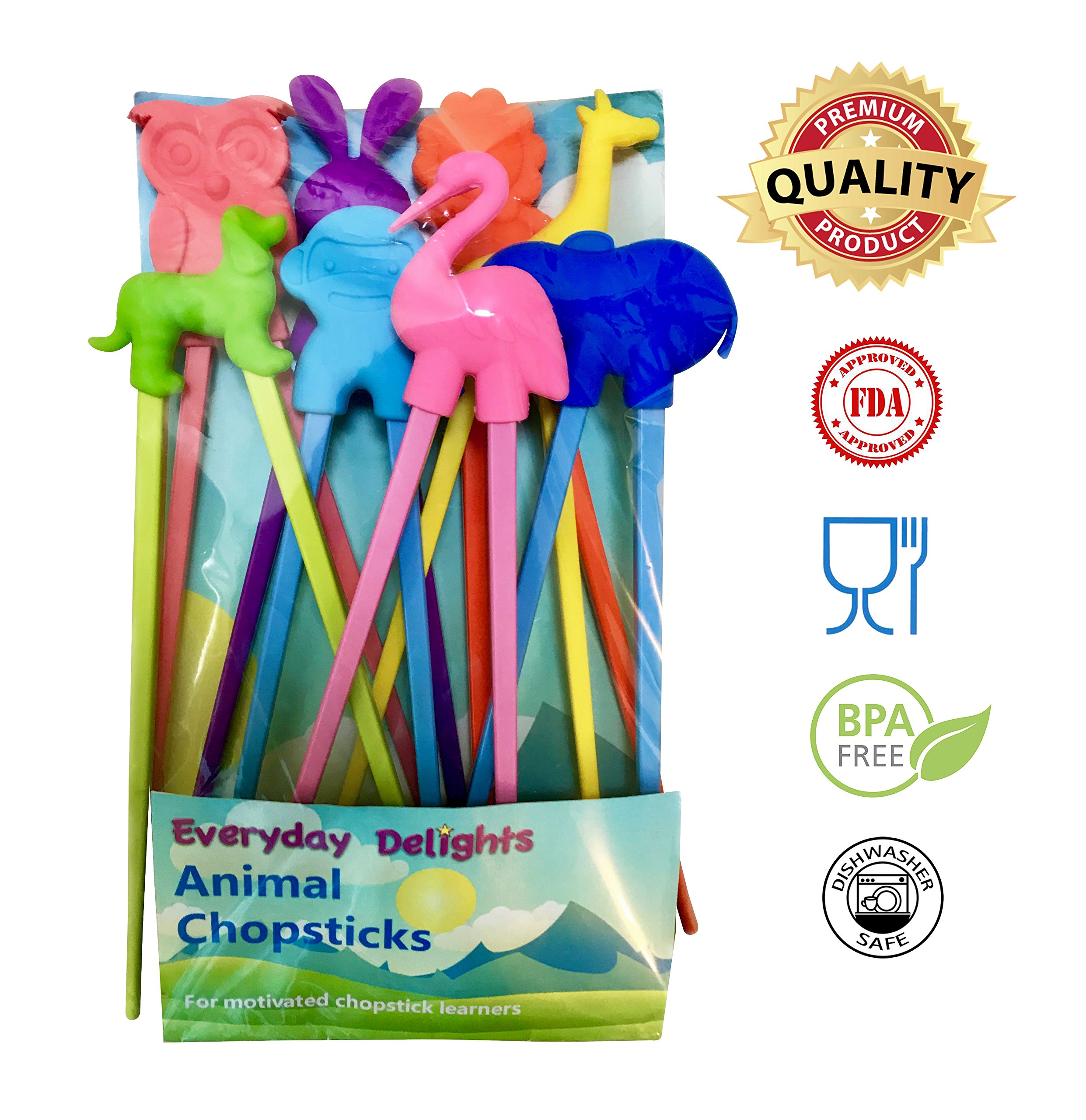 Everyday Delights Animal Training Chopstick Utensil Set (Rabbit, Flamingo, Giraffe, Dog, Elephant, Lion, Monkey, Owl) for Children, Kids, Teens, Adults, 8 pairs - Cute, Eco-friendly, Reusable, Durable by Everyday
