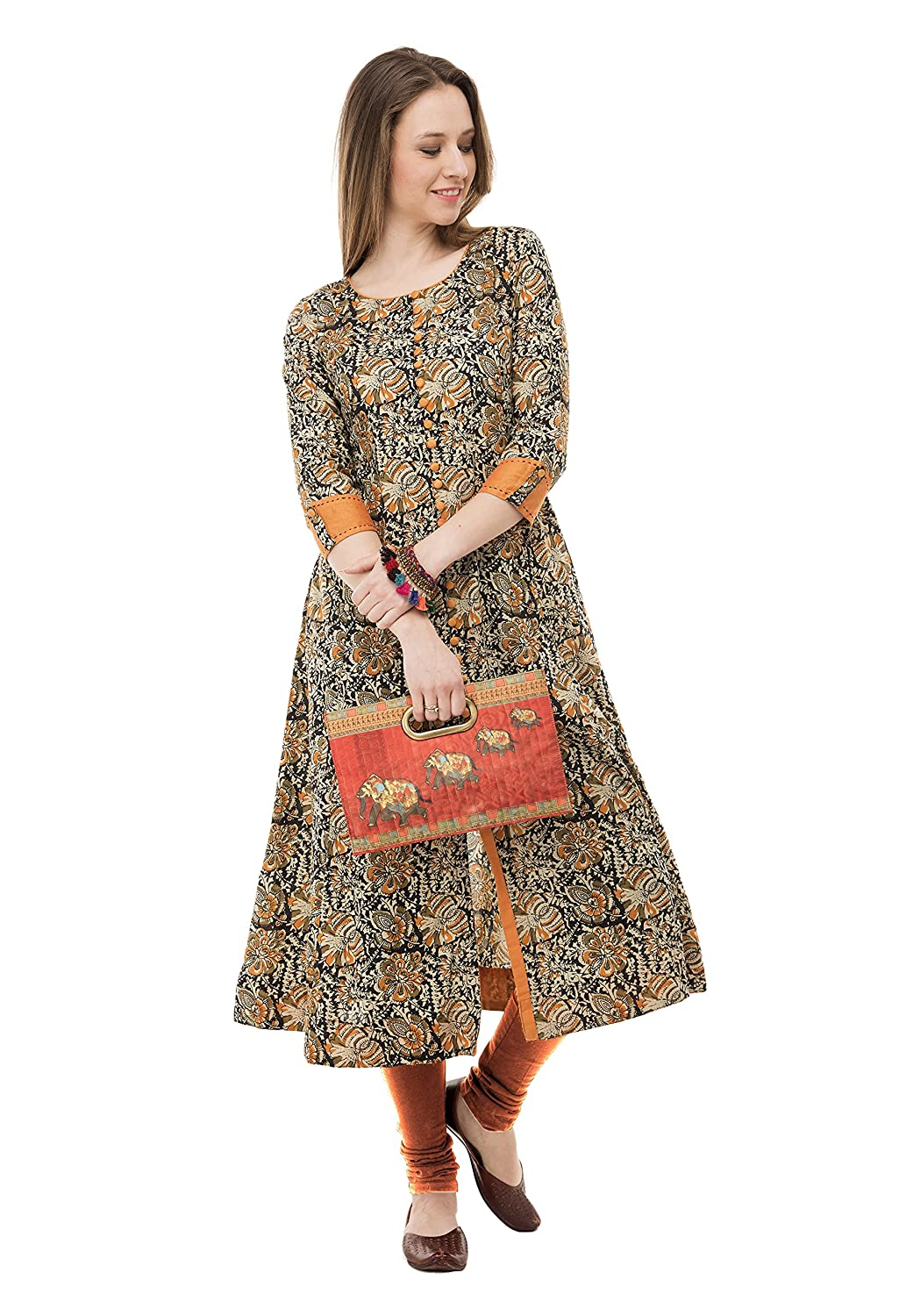 Women Stitched Multi Colour Printed Cotton Kurti