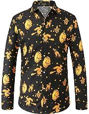 SSLR Men's Fun Pumpkins Button Down Long Sleeve Halloween Shirt