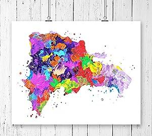 Dominican Republic Map Art Print, Watercolor Art Print, Archival Art Print,Wall Decor,Wall Art, Watercolor Art, Office Decor (UNFRAMED)