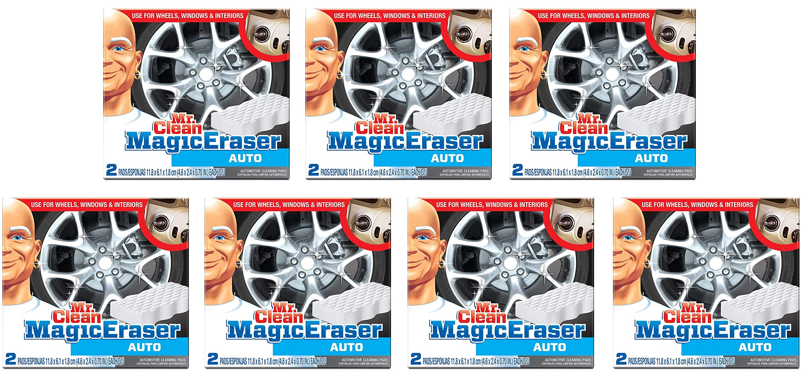 Mr. Clean Professional Magic Eraser Automotive Cleaning Pads, 2 Count, 7 Packs, 14 Cleaning Pads Total