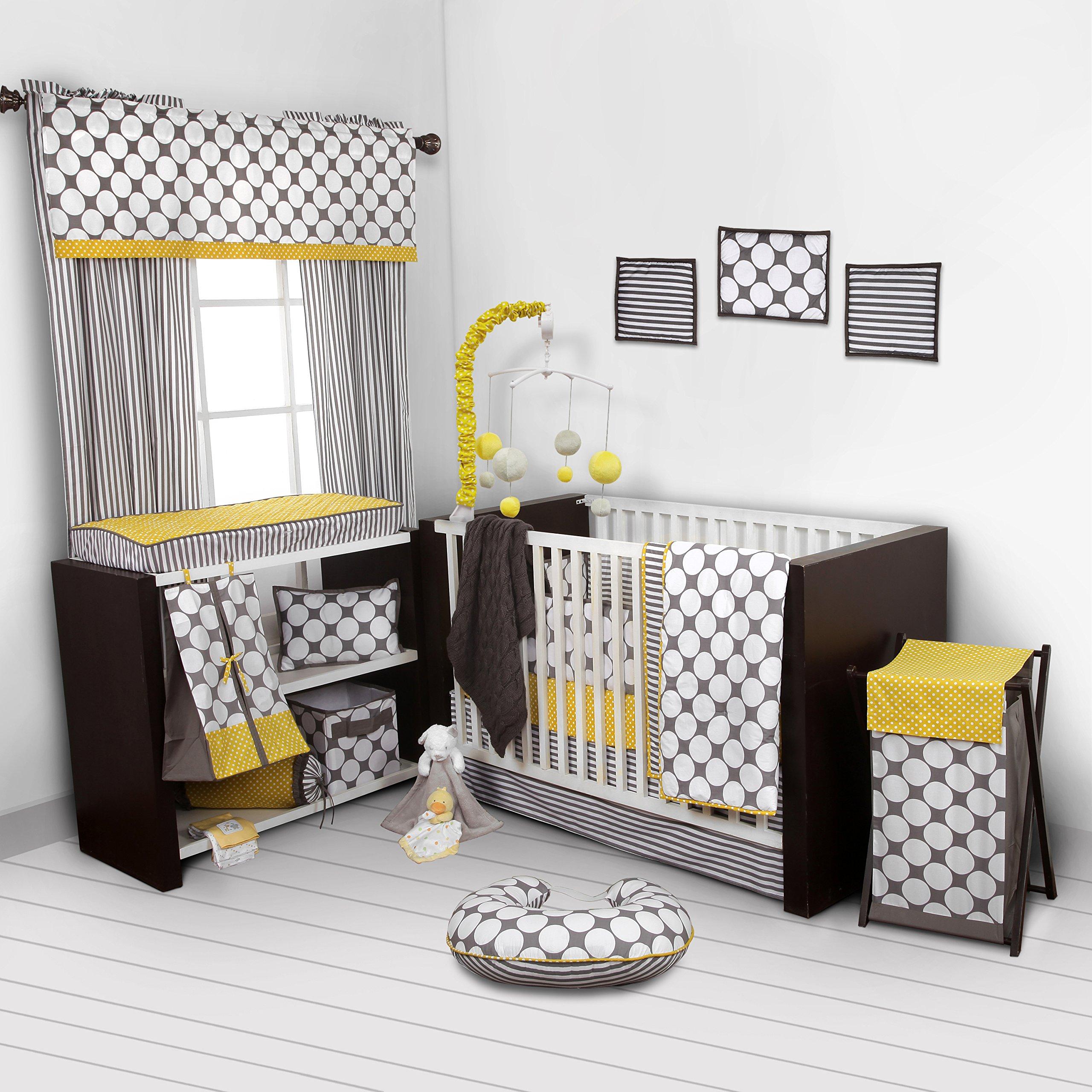 Bacati - Dots/pin Stripes Grey/yellow 10 Pc Crib Set Including Bumper Pad