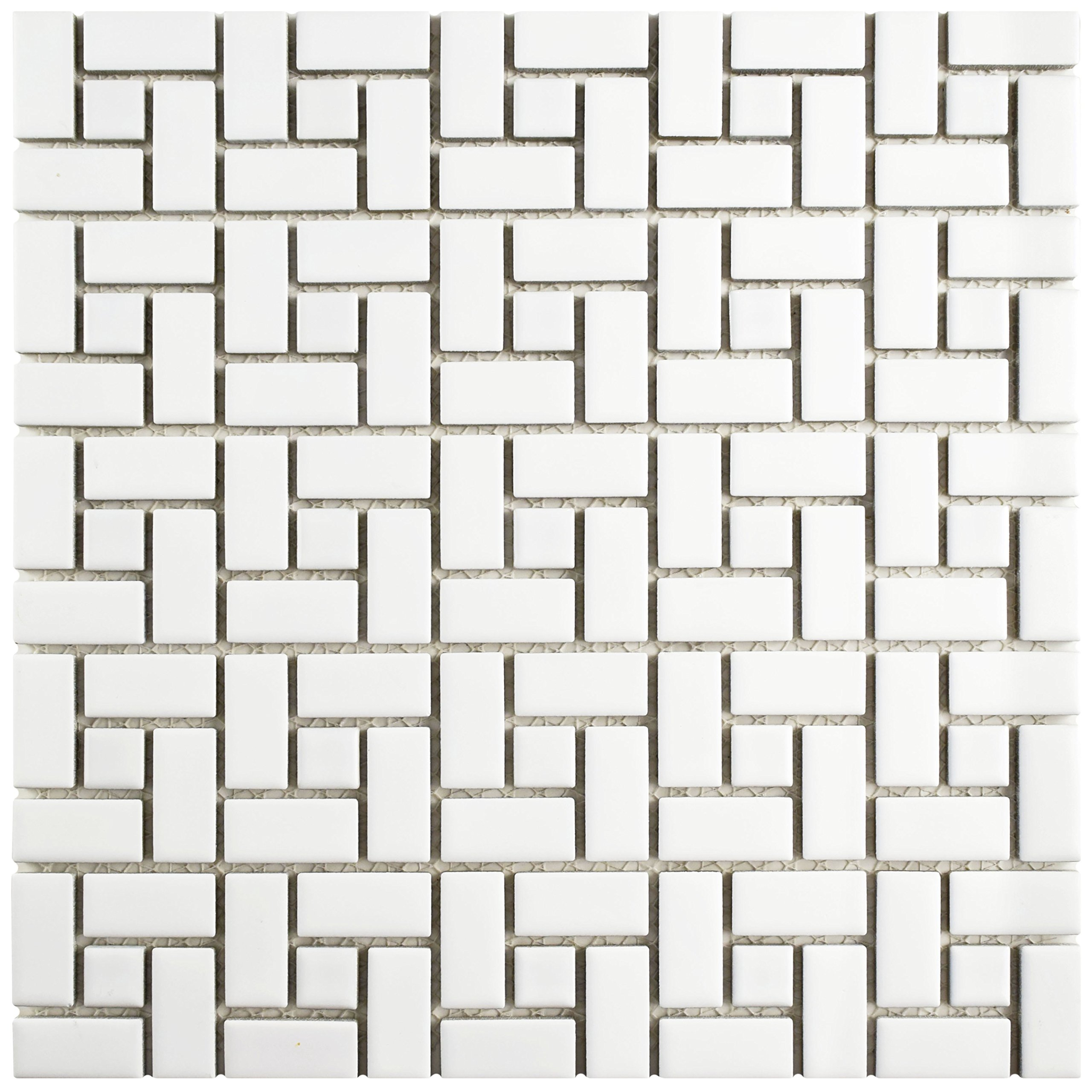 SomerTile FKOMSP21 Retro Spiral Porcelain Mosaic Floor and Wall Tile, 12.5'' x 12.5'', Matte Glossy White, 10 Piece by SOMERTILE