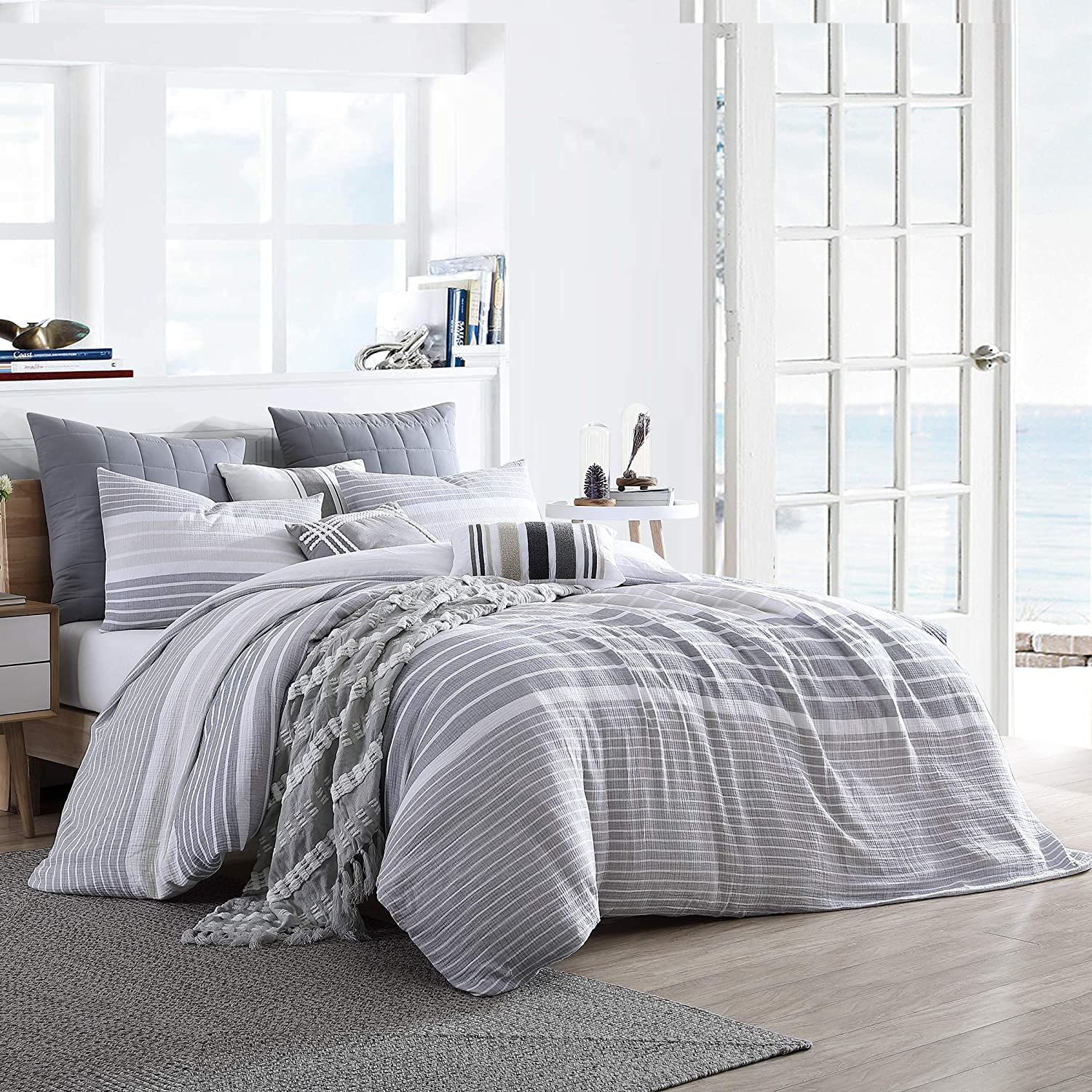 Swift Home Cordelia Prewashed Yarn-Dyed 100% Cotton Gauze Stripe Duvet Cover Set, Oeko-Tex Certified, Ultra Soft and Breathable, Button Closure, All Season - Grey, Twin/Twin XL (68