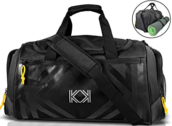 bae179b174 KK Gym Bag Sport Duffle Bag with Yoga Mat Holder and Shoes Compartment  Water Resistant 47L