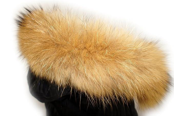 Cuello desmontable de pelo de mapache, pie real, lavable, color beige: Amazon.es: Ropa y accesorios