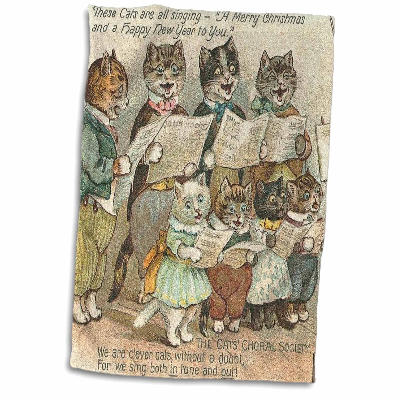 3D Rose Cat Choir TWL/_172507/_1 Towel 15 x 22