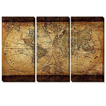 Amazon artkisser large retro world map canvas wall art vintage artkisser large retro world map canvas wall art vintage map of the world canvas stretched framed gumiabroncs Images