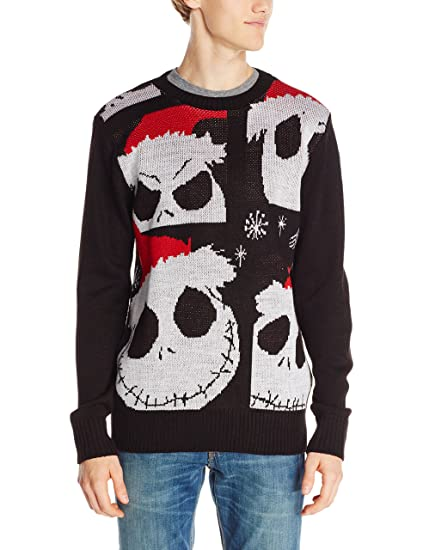 Disney Mens Jack Skellington Ugly Christmas Sweater Black Small