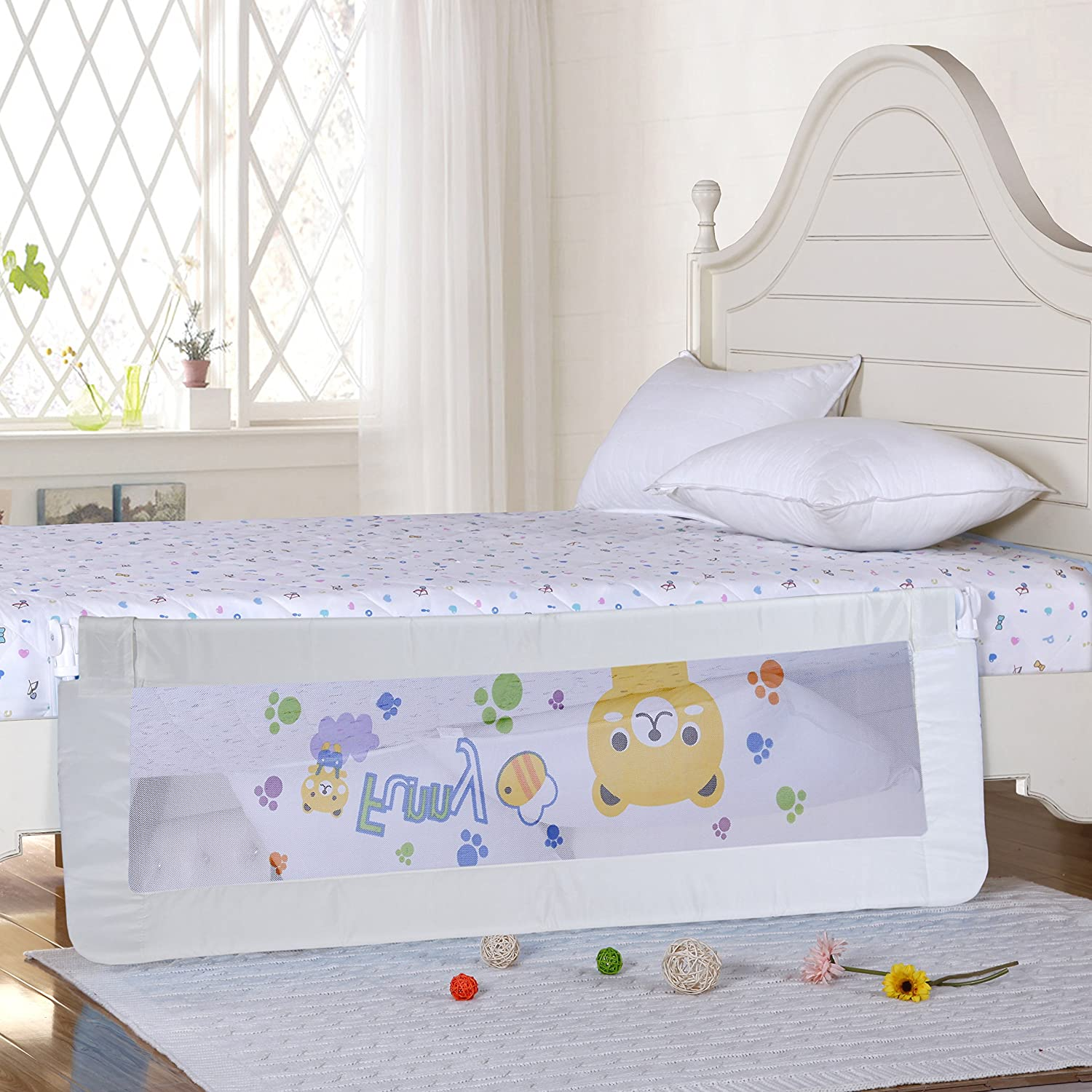 Amazon Baby Bed Rail Children Extra Long Guard Toddler Safety Fold Down Bedrail Potable Stop Falling White Color 58 Inches