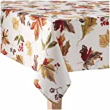 "Fall Thanksgiving Fabric Tablecloth - Autumn Harvest Scattered Leaves Print - 60"" x 84"" Oblong"