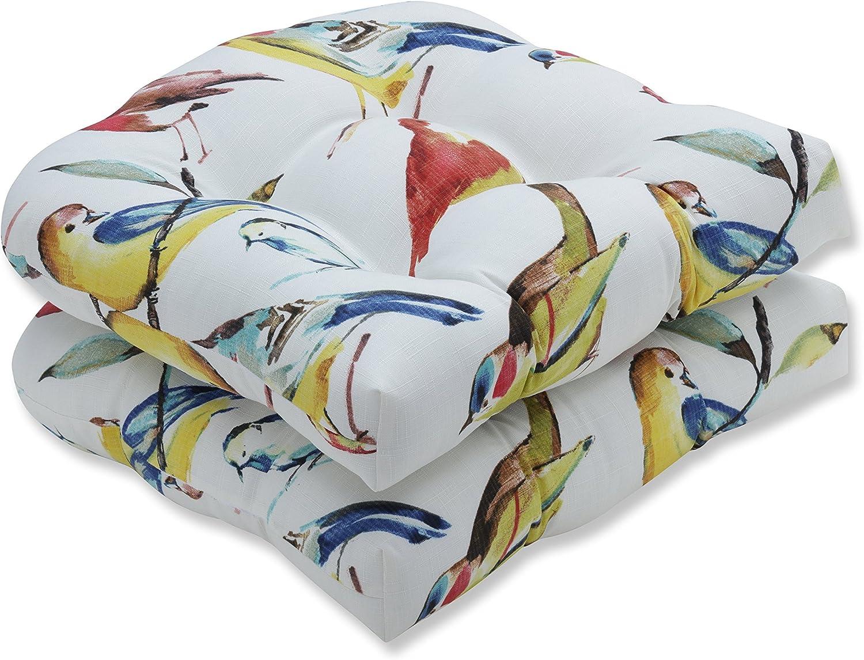 Pillow Perfect Outdoor Indoor Bird Watchers Summer Wicker Seat Cushion Set of 2