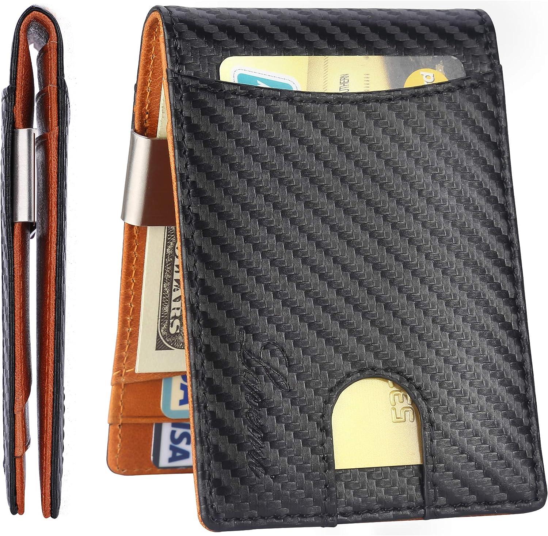 Front Pocket Slim RFID Blocking Genuine Leather Bifold Men Wallet ID Card Holder