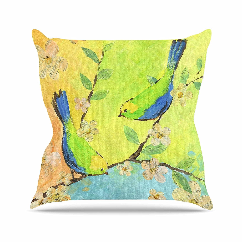 20 by 20 Kess InHouse Jacqueline Milton Song Birds Blue Green Throw Pillow