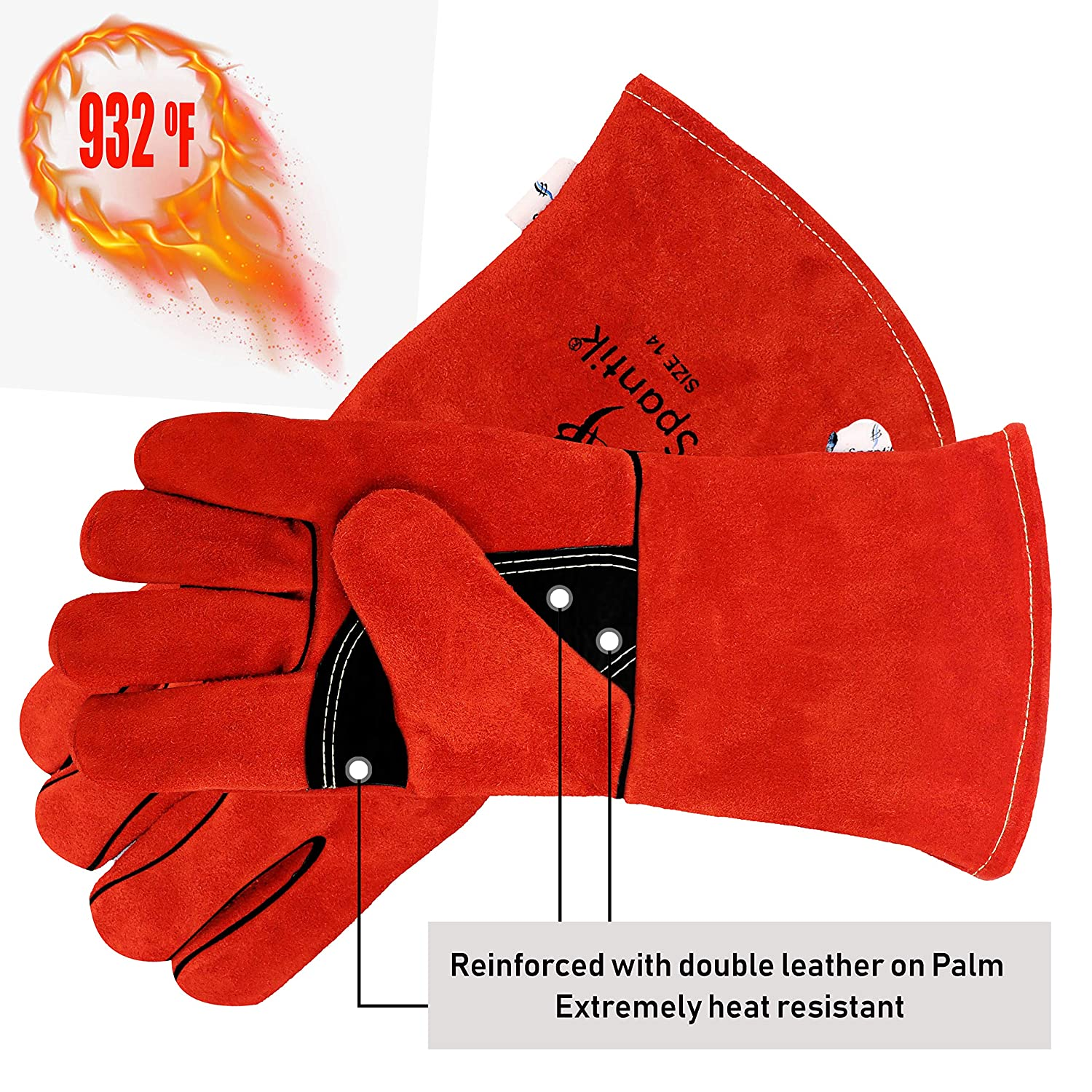 Spantik Leather Welding Gloves 14 sz Tig Mig Welder Kevlar Stitch Forge Heat Fire Resistant BBQ Grill Oven Mitts Stove Pot Holder Cooking Fireplace Camping Furnace Workplace Flame Retardant Gardening