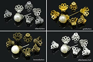 100 Perlenkappen Perlkappen End Kappen Blumen für 6-8 mm Perlen Gold Diy