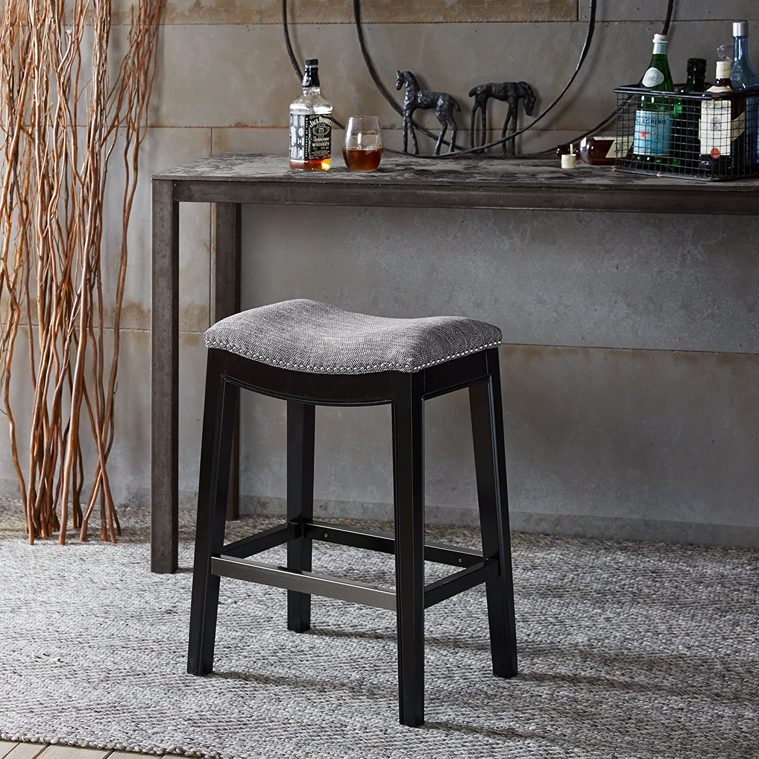 Madison Park Belfast Bar Stools - Hardwood, Fabric Kitchen Stool - Grey, Black, Classic Style Bar Height Stools - 1 Piece Silver Nail Head Bar Furniture For Home