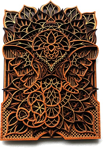 A2P Wood Multi Layer Mandala Holy Elephant Laser Cutting Wall Decor